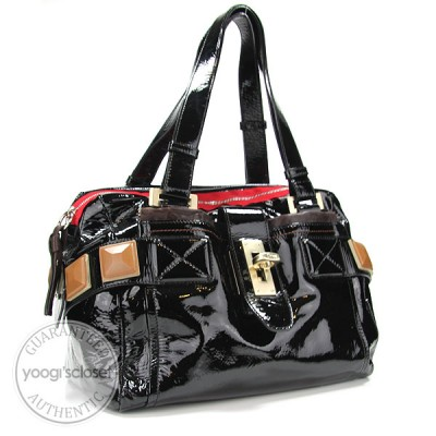 Chloe Black Patent Leather Audra Satchel Bag