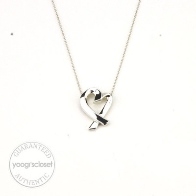 Tiffany & Co. Silver Large Paloma Picasso Loving Heart Pendant Necklace