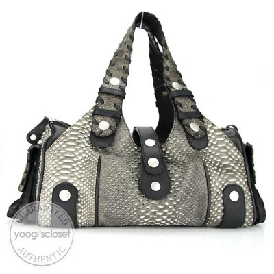 Chloe Grey Python Large Silverado Bag