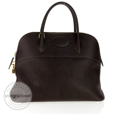 Hermes 37cm Marron Fonce Fjord Leather Bolide Bag