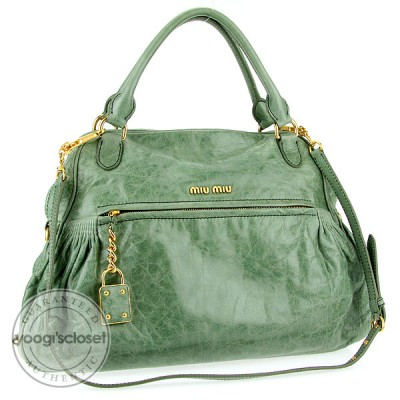 Miu Miu Agave Nappa Leather Charm Satchel Bag