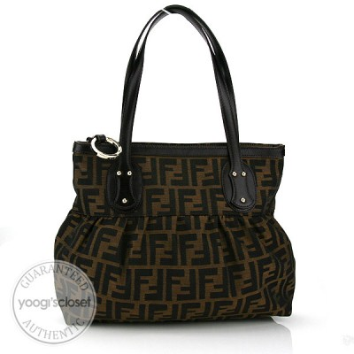 Fendi Tabacco Zucca Canvas Pleated Tote Bag