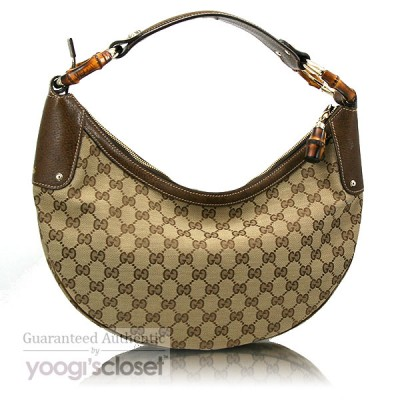 Gucci Beige GG Fabric Bamboo Ring Hobo Bag