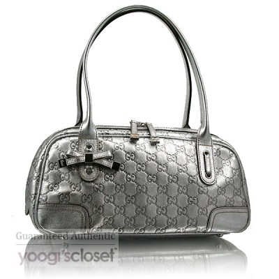 Gucci Silver Leather Guccissima Princy Boston Bag