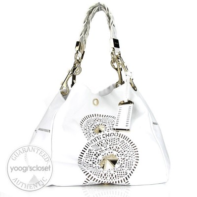 Jimmy Choo White Leather Lola Slouchy Tote Bag