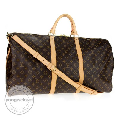 Louis Vuitton Monogram Canvas Keepall 60 w/ Should Strap Bag