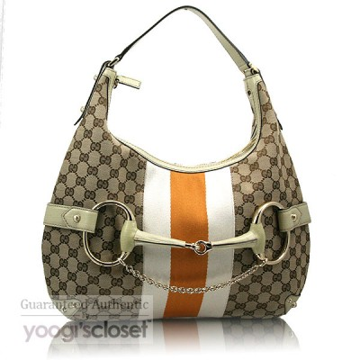 Gucci Beige/Gold GG Fabric Stripe Horsebit Hobo Bag