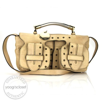 Chloe Sand Leather Studded Saskia Shoulder Bag