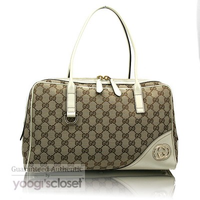 Gucci Beige GG Fabric Britt Boston Bag