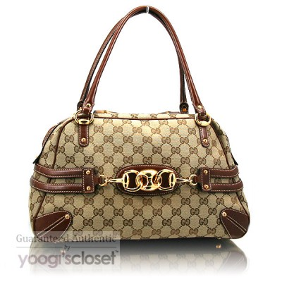 Gucci Beige GG Fabric Bamboo Horsebit Tote Bag