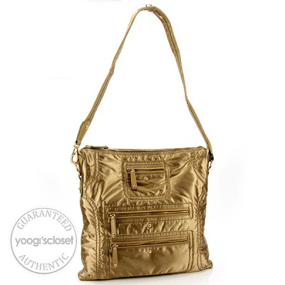 Tod's Gold Nylon Messenger Media Bag