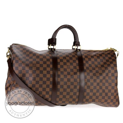 Louis Vuitton Damier Canvas Keepall w/ Shoulder Strap 55 Bag