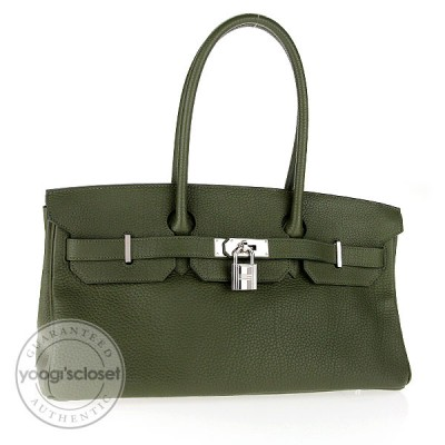 Hermes 42cm Vert Clemence Leather Palladium Hardware JPG Shoulder Birkin Bag