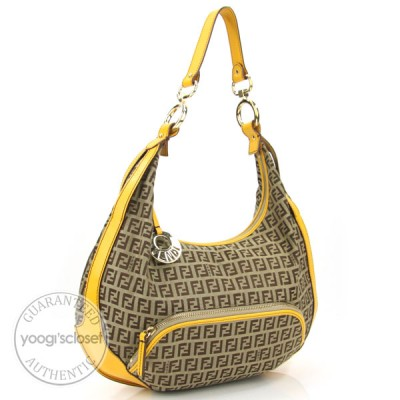Fendi Yellow Zucchino Canvas Front Pocket Hobo Bag