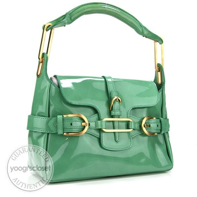 Jimmy Choo Mint Green Patent Leather Tulita Small Flap Hobo Bag