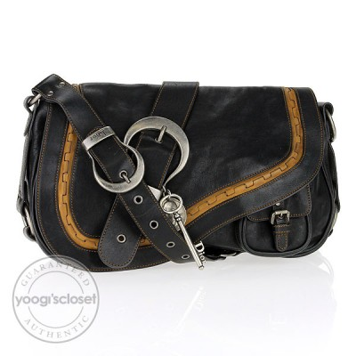 Christian Dior Black Leather Gaucho Bag