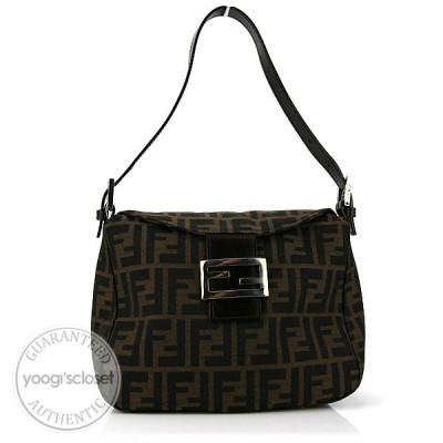 Fendi Tobacco Zucca Canvas Small Foldover Shoulder Bag