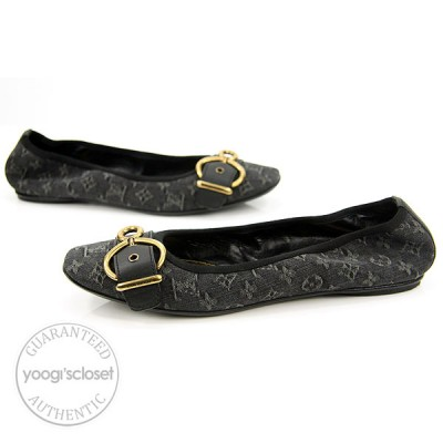 Louis Vuitton Monogram Denim Flash Lotus Ballerina Flats Size 6.5 N