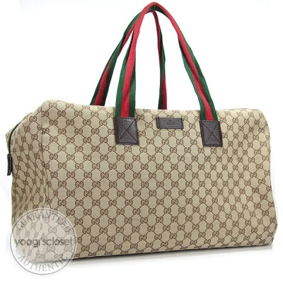Gucci Beige/Ebony GG Fabric Carryall Duffel Bag