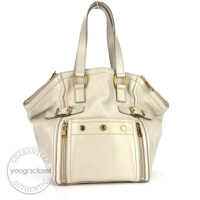 Yves Saint Laurent White Leather Downtown Tote Bag