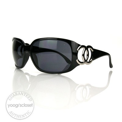 Chanel Black Metal CC Logo Sunglasses 6014