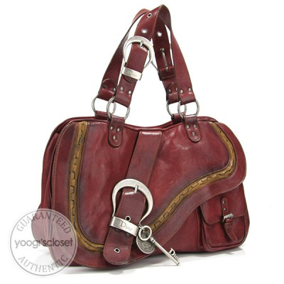 Christian Dior Rouge Bordeaux Leather Gaucho Bag