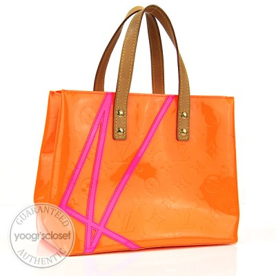 Louis Vuitton Limited Edition Robert Wilson Fluo Orange Monogram Vernis Reade PM Tote Bag