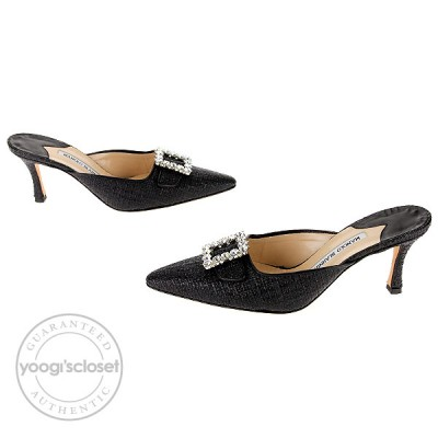 Manolo Blahnik Black Rafia Mayflower Slide Mules Size 7