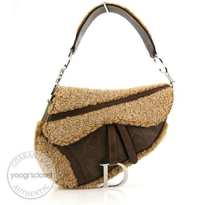 Christian Dior Brown Flight  Shearling Saddle Bag