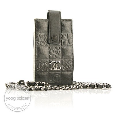 Chanel Silver Embossed Leather Cell Phone Holder