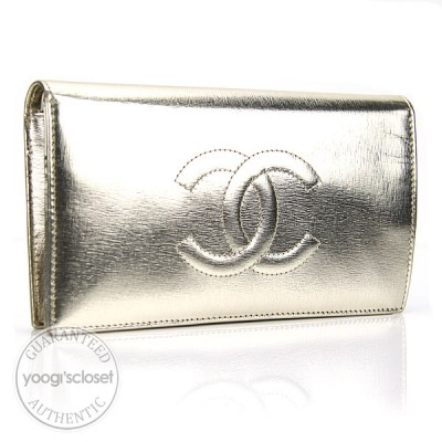 Chanel Metallic Gold Calfskin Leather Wallet