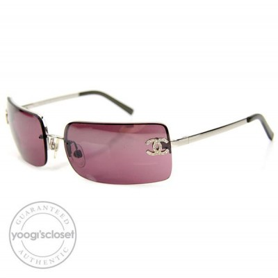 Chanel Purple Rimless Sunglasses 4104-B