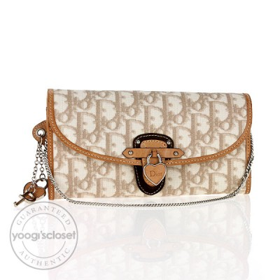 Christian Dior Beige Logo  Coated Canvas Chain Wallet/Pochette Bag