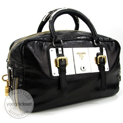 Prada Nero Black Leather Glace Zippers Tote Bag BL0462