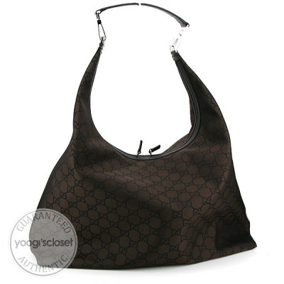 Gucci Dark Brown GG Nylon Extra-Large Travel Hobo Bag