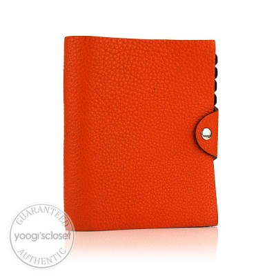 Hermes Orange Leather Ulysse PM Agenda
