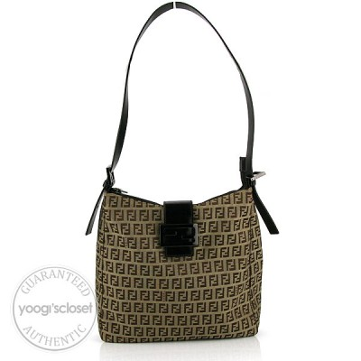 Fendi Brown/Beige Zucchino Canvas Shoulder Bag