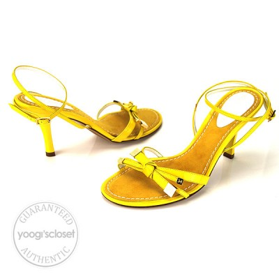 Louis Vuitton Yellow Patent Leather Strappy Bow Sandals Size 6
