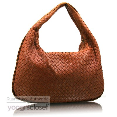 Bottega Veneta Light Brown Medium Veneta Woven Hobo Bag