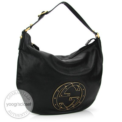 Gucci Black Leather Studded Logo Small Hobo Bag