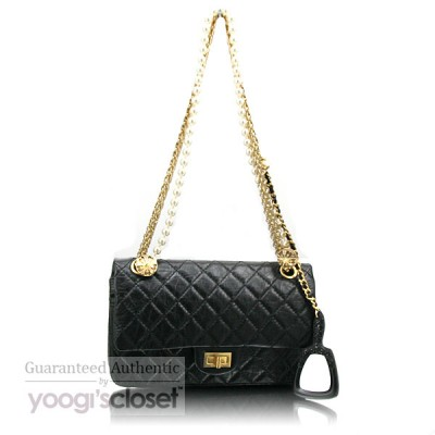 Chanel Limited Edition Black Classic 2.55 Reissue Small Flap Bag with Pearl and Mirror Accessories