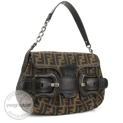 Fendi Tobbaco Zucca Canvas Shoulder B-Bag