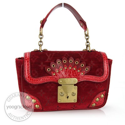 Louis Vuitton Limited Edition Red Monogram Velours Alligator Irvine Bag