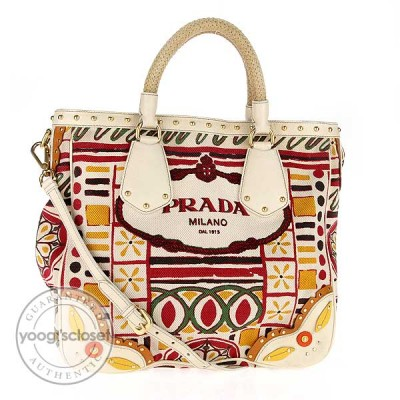 Prada Multicolore Patterned Canvas Tote Bag