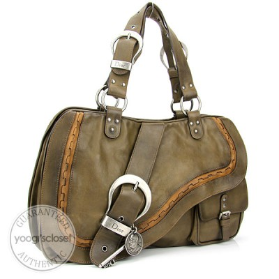 Christian Dior Olive Leather Gaucho Bag