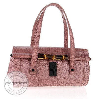 Gucci Pink Leather Bamboo Bullet Tote Bag
