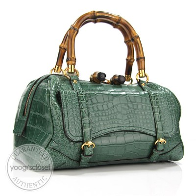 Gucci Limited Edition Green Crocodile Medium Bamboo Boston Bag