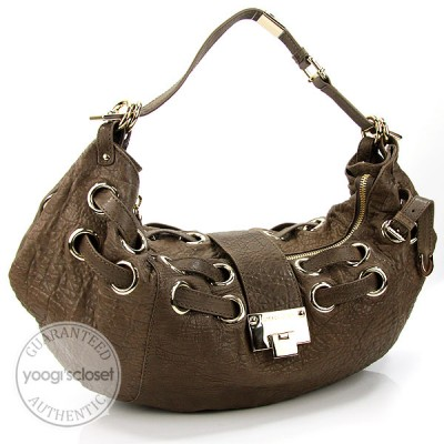 Jimmy Choo Taupe Drummed Leather Rania Hobo Bag