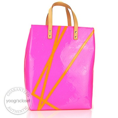 Louis Vuitton Limited Edition Robert Wilson Fluo Rose Monogram Vernis Reade MM Tote Bag