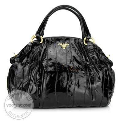 Prada Black Patent Leather Stripes Tote Bag BL0560